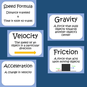 Force and Motion Word Wall Posters READY TO PRINT