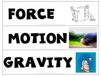 Force and Motion Word Wall Words and Activities