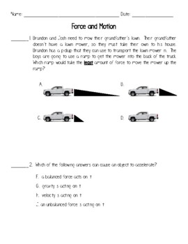 Force And Motion Worksheets Teaching Resources Teachers Pay Teachers Force And Motion Matching Worksheet Forces And Motions Worksheets #2