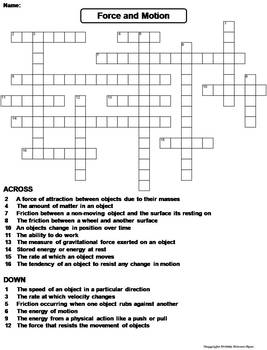 force and motion worksheet crossword puzzle by science spot tpt. Black Bedroom Furniture Sets. Home Design Ideas