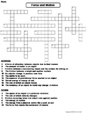 Force and Motion Worksheet/ Crossword Puzzle