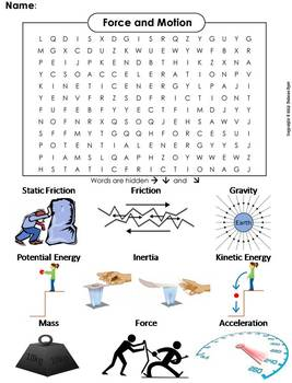 force and motion worksheet word search by science spot tpt. Black Bedroom Furniture Sets. Home Design Ideas