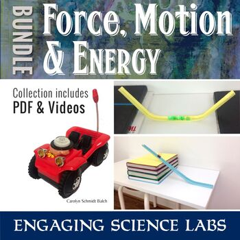 Force and Motion and Energy Labs BUNDLE—Newton's Laws: Video & PDF instructions