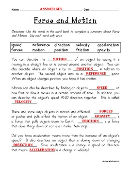 force and motion fill in the blank by the teachaholic tpt rh teacherspayteachers com Vocabulary Study Guide Maker Vocabulary Study Template