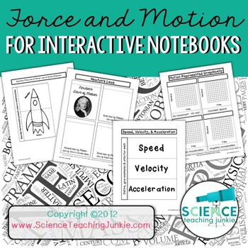 Force and Motion for Interactive Science Notebook (Distance Learning & Google)