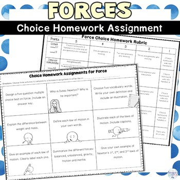 Force and Newton's Laws of Motion Choice Homework Assignment FREEBIE