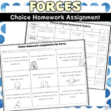 Force and Newton's Laws of Motion Choice Board FREE