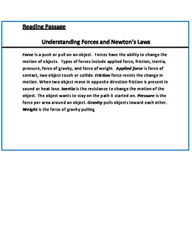 Force and Newton's Laws of Motion Unit Packet