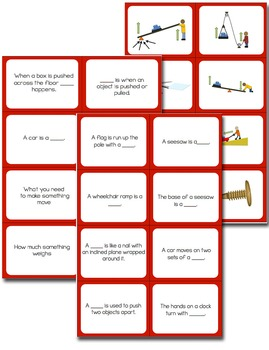 Force and Simple Machines Vocabulary Review Snap-It! Card Game