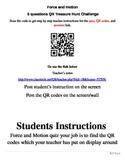 Force and motion 5 questions QR code treasure hunt challenge