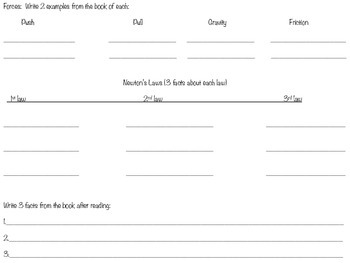 Force and motion book graphic organizer