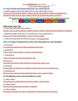 Force and motion webquest  good review, reinforcement, or intro. With answer key