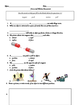 Force & motion end of unit assessment