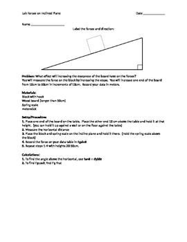 Force on an inclined plane lab