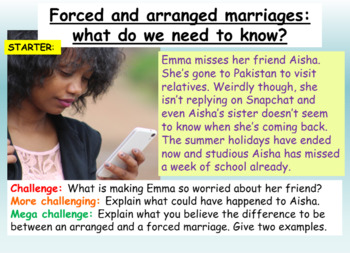 Forced Marriages + Arranged Marriages