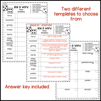 Forces Fun Interactive Vocabulary Dice Activity