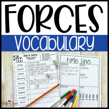 Forces Fun Interactive Vocabulary Dice Activity EDITABLE