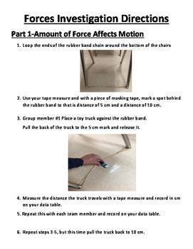 Forces Affect Motion Lab Sheet