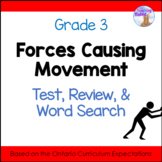Forces Causing Movement Science Test, Review & Word Search (Grade 3)