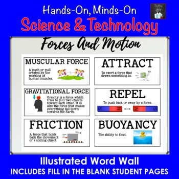 ONTARIO SCIENCE: GRADE 3 FORCES CAUSING MOVEMENT ILLUSTRATED WORD WALL CARDS