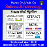ONTARIO SCIENCE: GRADE 3 FORCES CAUSING MOVEMENT ILLUSTRATED WORD WALL