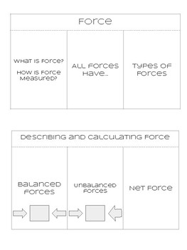 Forces Foldable and Net Force Calculations