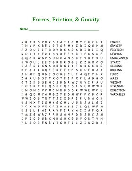 Forces, Friction, & Gravity Word Search