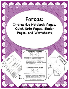 Forces: Interactive Notebook Foldables, Binder Pages and Worksheets