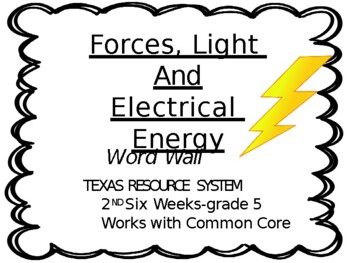 Forces, Light, Sound and Electrical Energy Word Wall..Grade 5