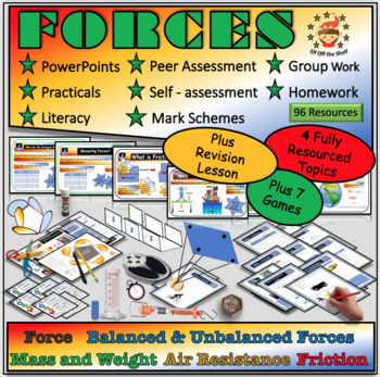 Forces - Middle School Science Module Plus 6 Forces Games and Review Lesson