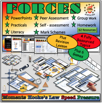 Forces Module for Middle School Science Plus Review Lesson and 6 Forces Games