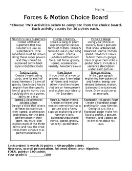 Forces & Motion Choice Board