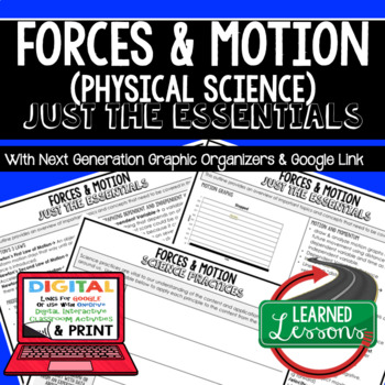 Forces & Motion Just the Essentials Content Outlines, Next Generation Science