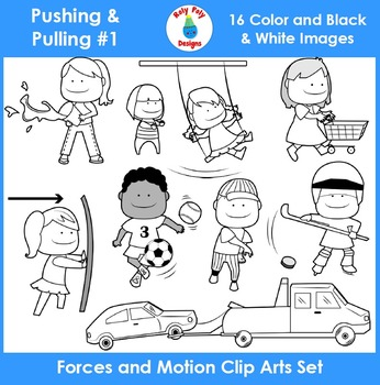 Forces and Motion (Pushing & Pulling) Clip Art Set 1