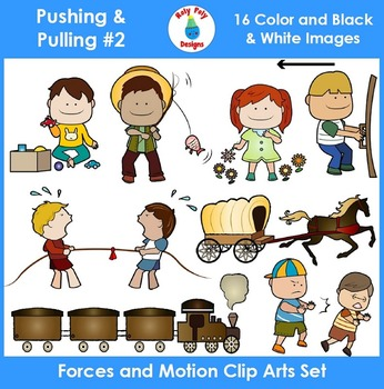 Forces and Motion (Pushing & Pulling) Clip Art Set 2