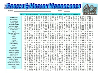 Forces & Motion Vocabulary Wordsearch