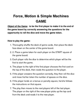 Forces, Motion and Simple Machines BOARD GAME
