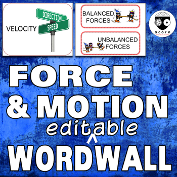Force and Motion Word Wall (editable)