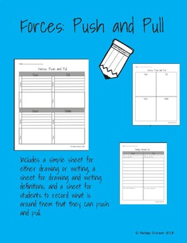 Forces: Push and Pull Lesson Worksheets