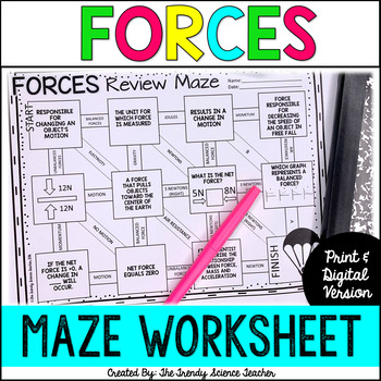 Forces Review Maze worksheet