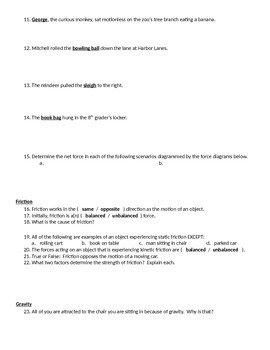 Forces, Motion, and Energy Review Sheet