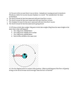 Forces: Friction, Gravity, Inertia & Newton's Laws Worksheet