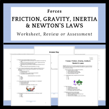 Forces: Friction, Gravity, Inertia & Newton's Laws Worksheet | TpT