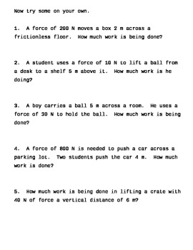 Forces Unit:  Notes on Work and its formula