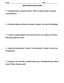 Forces Unit:  Practice problems using formula for Speed 1