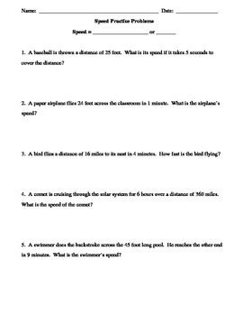 Forces Unit:  Practice problems using formula for Speed 2