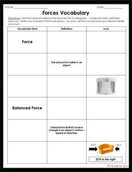 Forces Vocabulary Sort