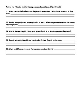 Forces Worksheet
