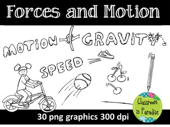 Forces and Motion Clipart Set