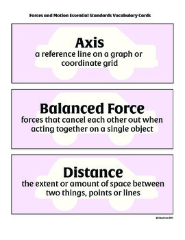 Forces and Motion Essential Standards Vocabulary Cards